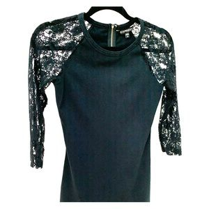 Express black fitted dress with lace sleeves